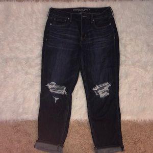 dark wash distressed boyfriend jeans